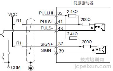 上位机(plc)以集电极开路方式输出脉冲指令的接线